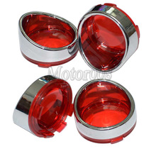 4Pcs Chrome Visor-Style Turn Signal Bezels With Red Lens for Harley Touring Softail Dyna Sportster V-Rod 2000&up Harley Dyna
