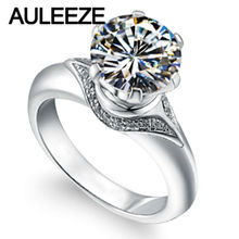 Romantic Moissanites Wedding Rings For Women 2 Carat Round Lab Grown Diamond Solid 14K White Gold Engagement Ring Fine Jewelry