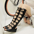 Big size Wedges Summer Thigh High Gladiator Sandals Boots Women Sexy Peep Toe Cut out  Gladiator Boots High Heel Sandal Boots
