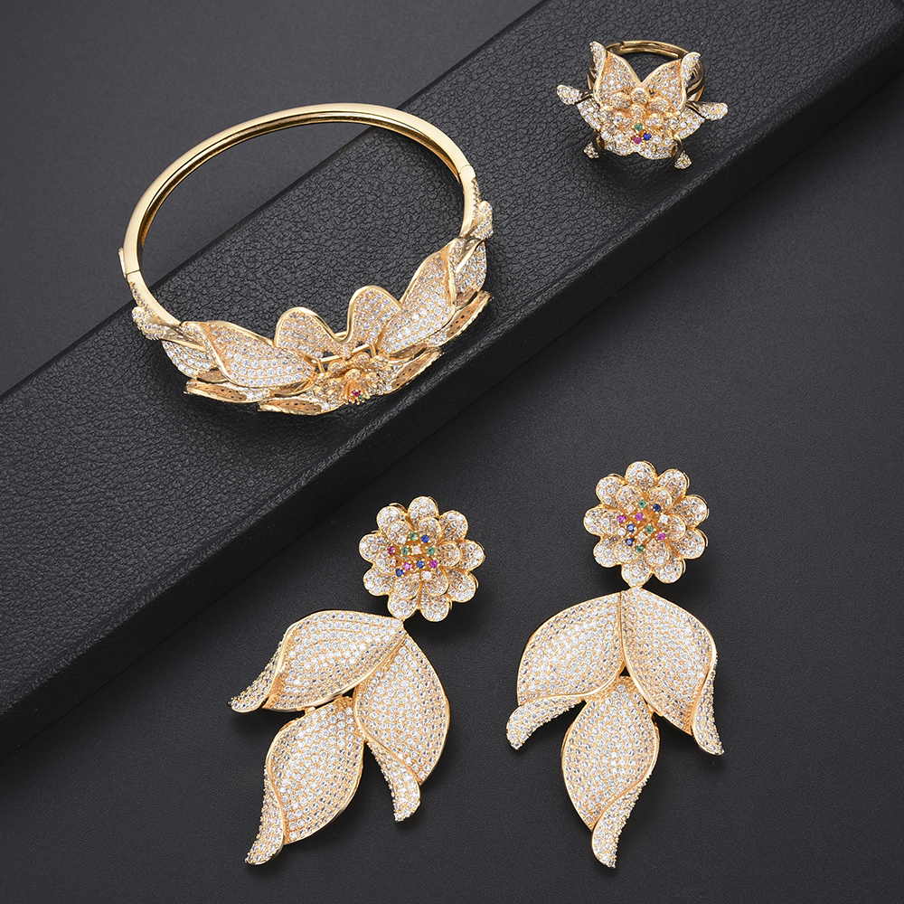 missvikki Noble Luxury Big Leaves Flowers Jewelry Set Exquisite Indian Bangle Earrings Necklace Ring Jewelry Set High Quality