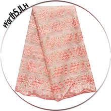 High Quality African Lace Fabric Materials 2019 Peach Fushia Pink Cord Mesh Tulle Nigeria With Stones