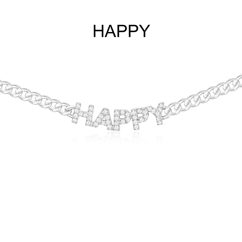 SLJELY Luxury Brand 925 Sterling Silver HAPPY Letters Chain Necklace Micro Cubic Zirconia Alphabet Choker Monaco
