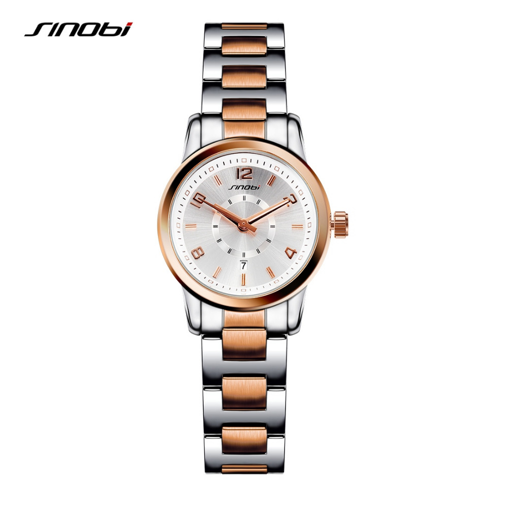 цены Sinobi Brand Women Fashion Dress Quartz Watches Ladies Gold Steel Reloj Mujer Noble Clock Female Relojes Mujer Wrist Watch New