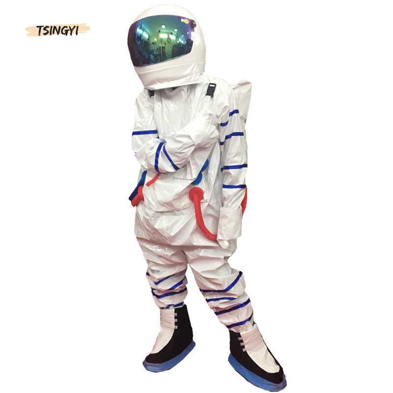 Space Suit For Men Women Adult Children Astronaut Costume Silver White Pilot Halloween Costumes Clothes+Backpack+glove+shoes