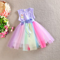 2015 Flower Girl Dress For Wedding Party Summer Rainbow Baby Girls Rainbow Princess Dresses Sleeveless Kids Elegant Clothes C25