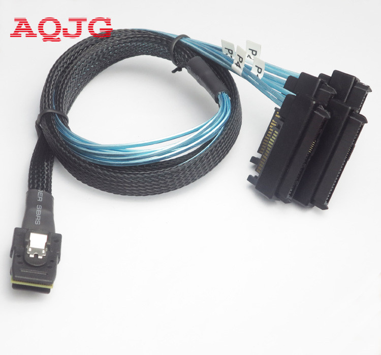 Mini SAS 36P SFF-8087 to 4 SFF-8482 Connectors With SATA Power Cable 1m US Send