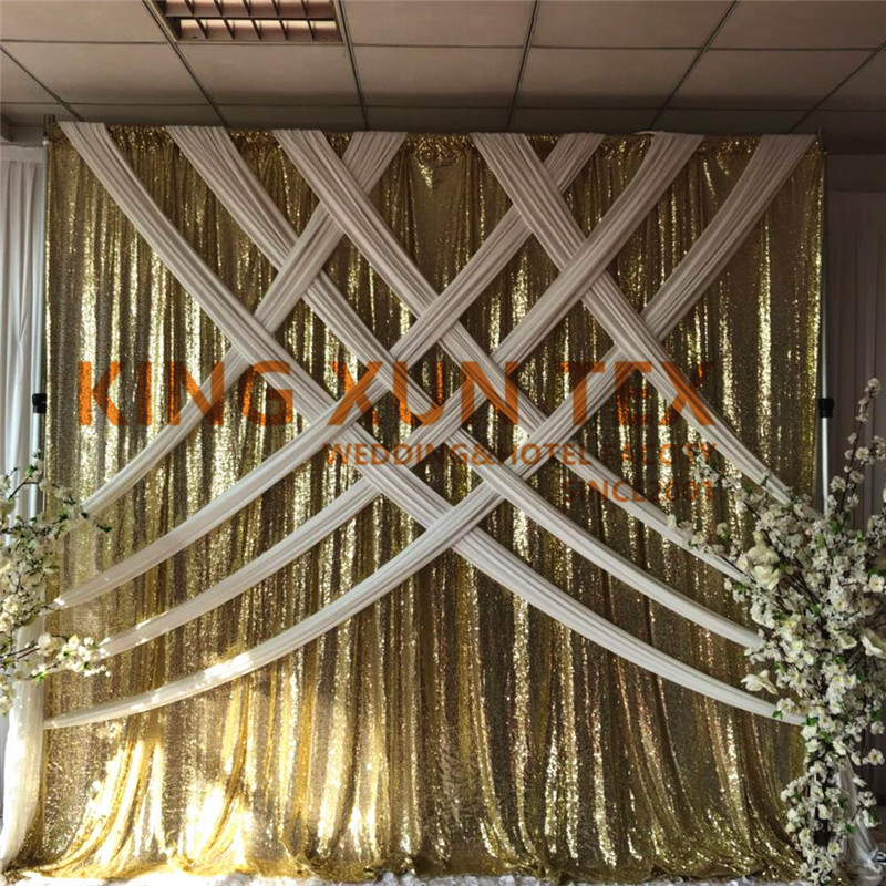 Nice Looking Gold Sequin Backdrop Curtain With White Silk Swag Valance Drapery For Wedding DecorationNice Looking Gold Sequin Backdrop Curtain With White Silk Swag Valance Drapery For Wedding Decoration