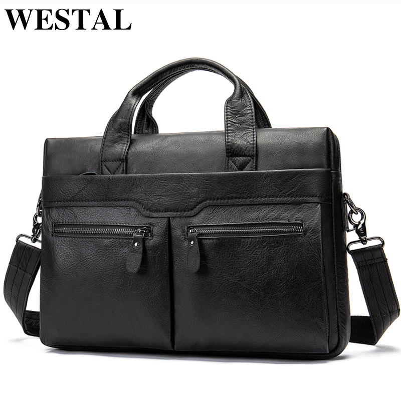 WESTAL genuine leather bag for men s briefcase bussiness laptop bags for documents messenger handbags tote