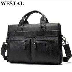 WESTAL сумка из натуральной кожи для мужчин, деловой портфель для ноутбука, сумки для документов, сумки-мессенджеры, сумки-тоут, портфель 9005