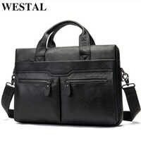 WESTAL sacchetto di cuoio genuino per gli uomini della borsa della cartella bussiness borse per notebook per i documenti messenger borse tote valigetta 9005