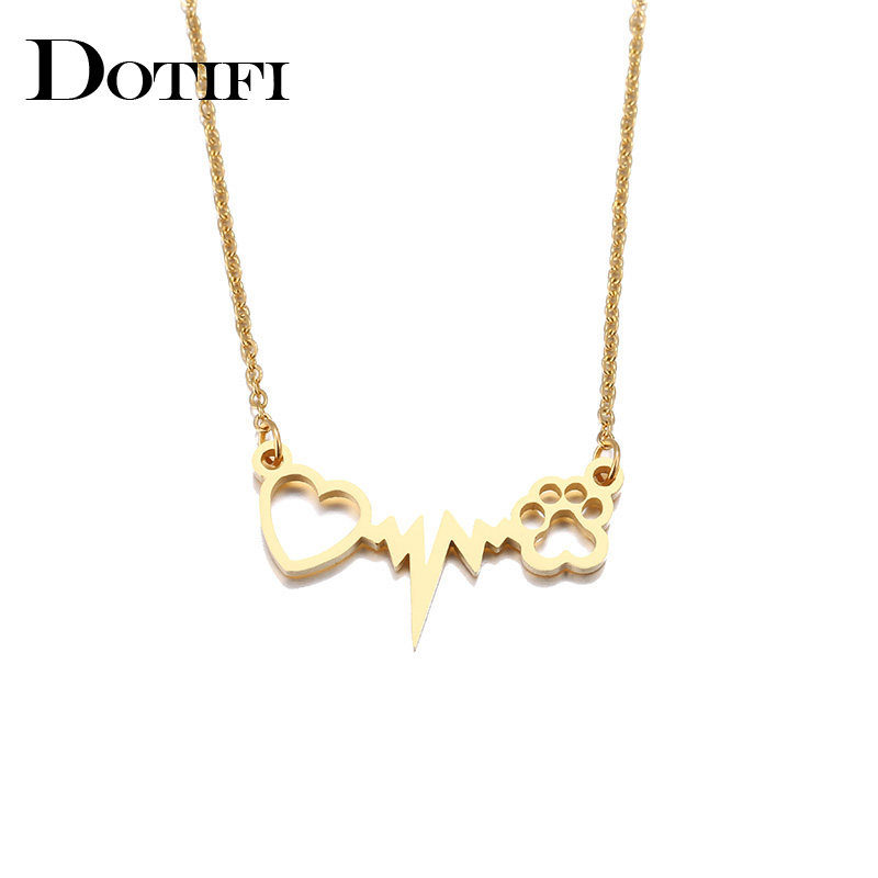 DOTIFI Stainless Steel Necklace For Women Lover's Gold And Silver Color Cats Paws Love Heart Pendant Necklace Engagement Jewelry