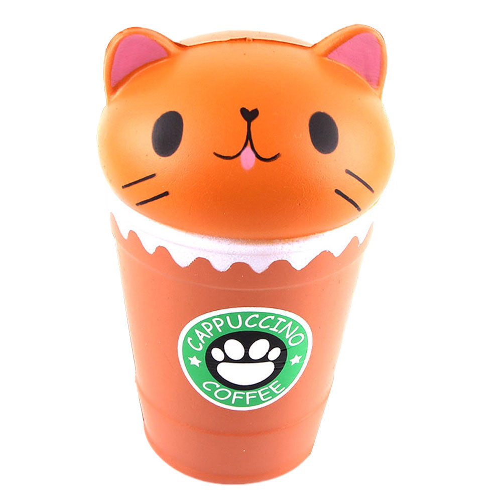 Kawaii Squishies Jumbo Cappuccino Coffee Cup Cat Gags Practical Jokes Toy Squish Antistress Scented Toys 30S71221 drop shipping
