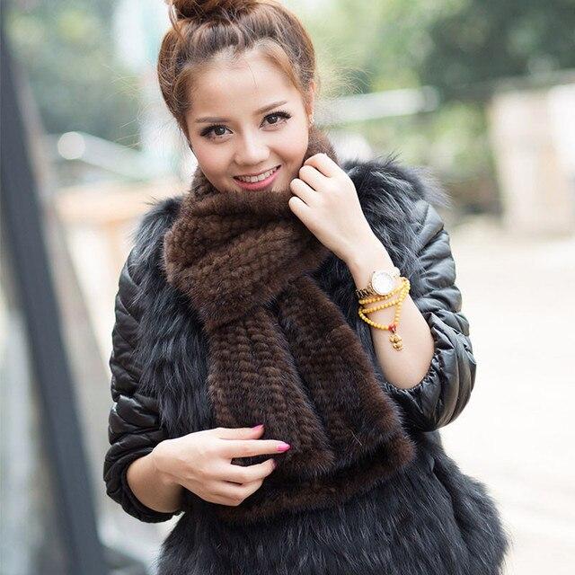 Modern Women Mink Fur Shawl Good Gift Real Fur Scarf Genuine Mink Scarf Hand Knitted Mink Scarf Winter Fur