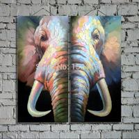 Hand Made High Quality Elephant Oil Paintings On Canvas 2Pcs/Set Decoration Oil Wall Art Paints In Hotel Restaurant Office Home