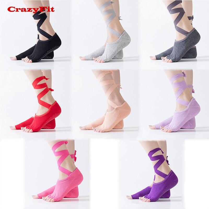 CrazyFit 2018 Yoga Sport Socks Women Cross Straps 5 Open Toes Non Slip Antiskid Anti-slip Gym Breathable Five Finger Yoga Socks