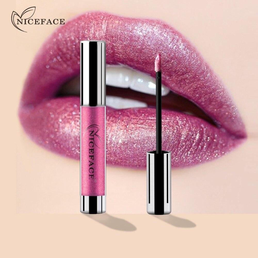 NICEFACE Metallic Tint Lip Gloss Glossy Balm Sexy Mermaid Colors Matte Liquid Lipstick Diamond Moisturizing Lipgloss Makeup