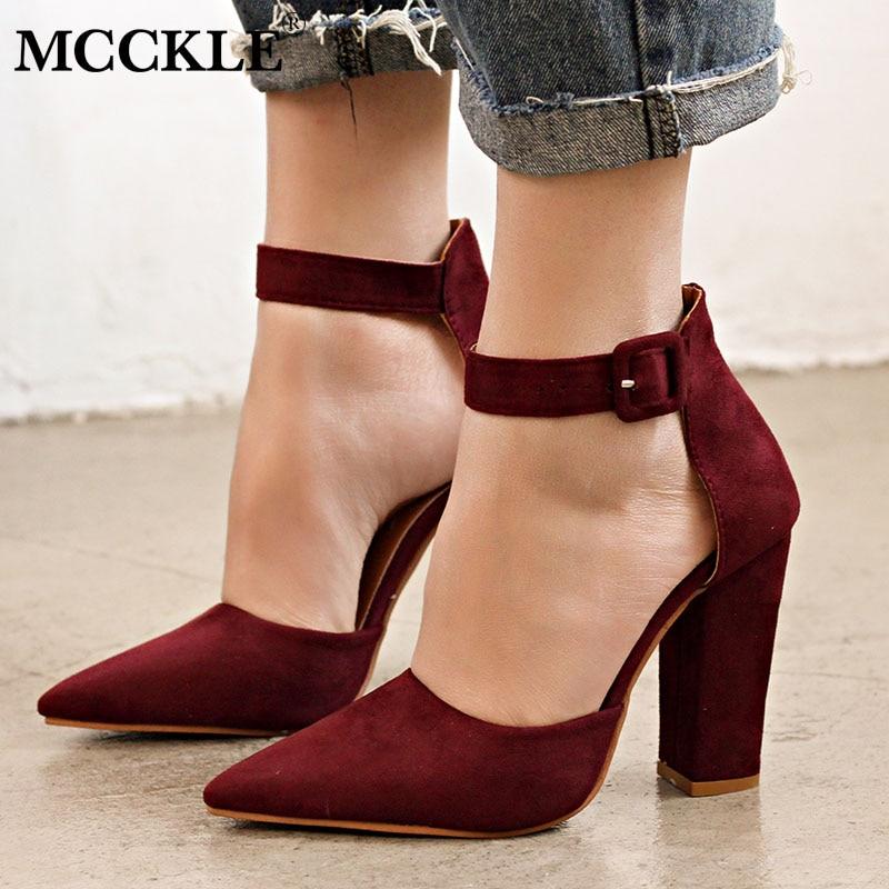 MCCKLE Woman High Heels Fashion Buckle Strap Female Pumps 2018 Flock Plus Size Ladies Party Wedding Shoes Elegant Autumn Shoe цена