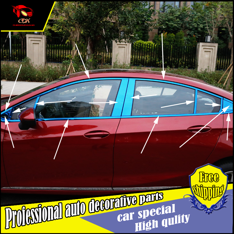 Car styling stainless Steel Window Trim sticker For Chevrolet Cruze 2017 Windows middle column Window frame Trim Sequin