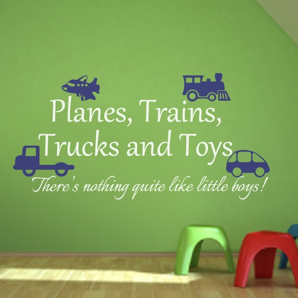 Nice Playroom Decal Planes, Trains, Trucks And Toys Boy Wall Sticker Playroom  Wall Decal Baby Boy Nursery Decor 73cm X37cm In Wall Stickers From Home U0026  Garden On ...