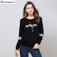 Autumn Cotton Pullovers Hoodie Women's Clothes Hollow out Lace Full Sleeve Crane Beading Spring Tops Outerwear Plus Size 5xl M