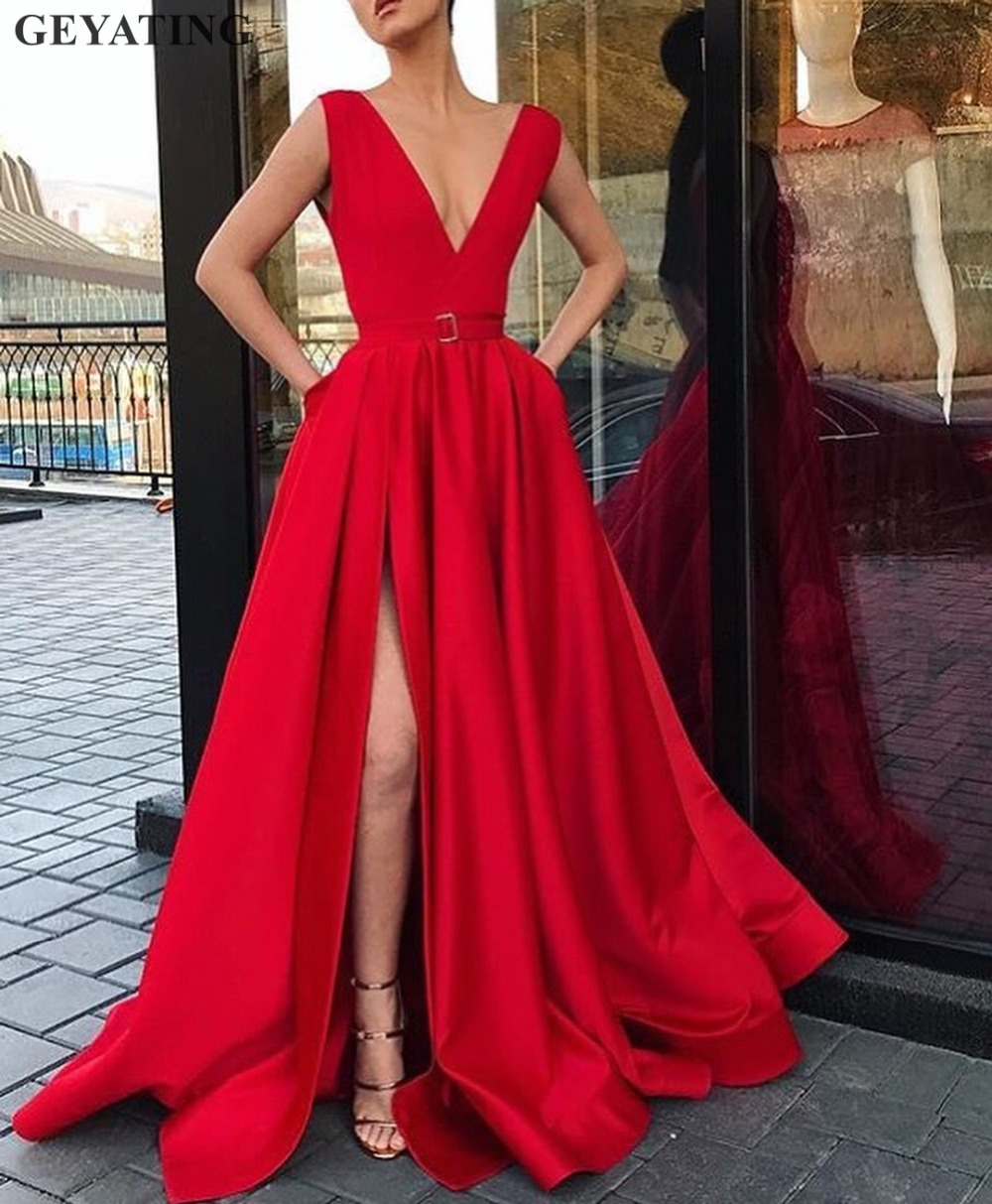 Sexy Deep V-neck Long Red Evening Dress with Pockets Satin High Side Slit Prom Dresses 2019 Elegant Women Formal Party Gowns