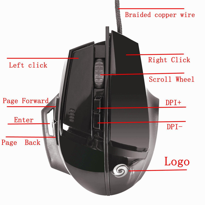 New K1019 8-Key 4000dpi Professional Internet Gaming Mouse
