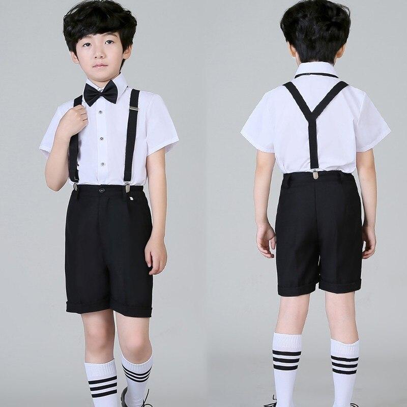 ФОТО Boys Summer Tuxedos Kids Short sleeve Wedding suits Shirt Vest Shorts Bow tie Strape 5 pieces Vest sets Formal suit