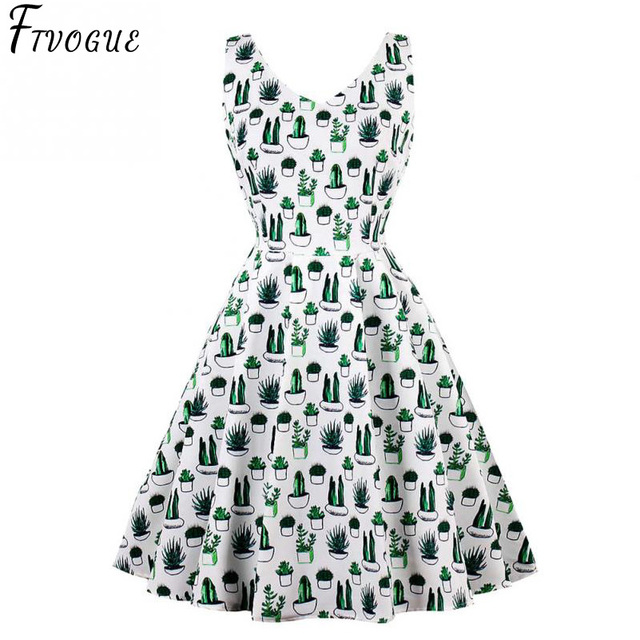 Elegant Cactus Print Dress Women Vintage 50s 60s V Neck Plus Size 4XL Swing  Rockabilly Pin 0760c233847d