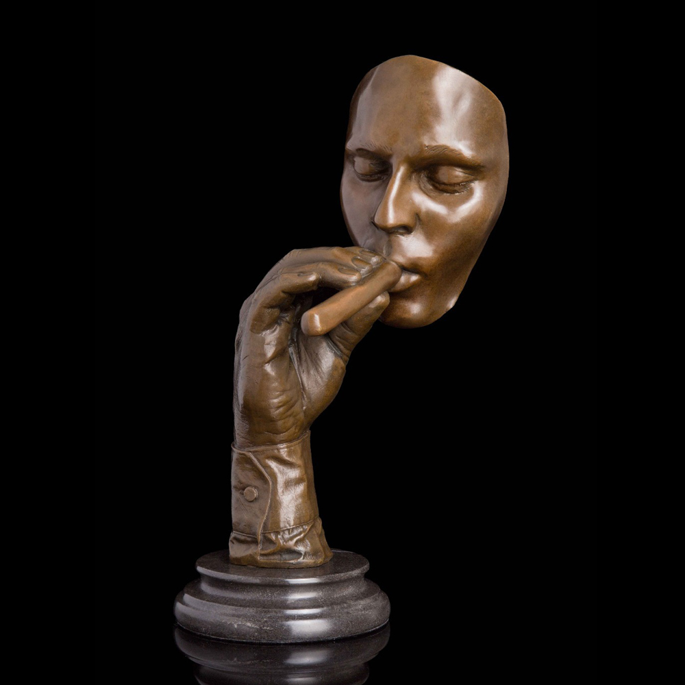 ATLIE Bronze Abstract Sculpture Smoking Cigar Man Statue Bronze Classic Male Bust Brass Figurine for Living Room Office Decor in Statues Sculptures from Home Garden