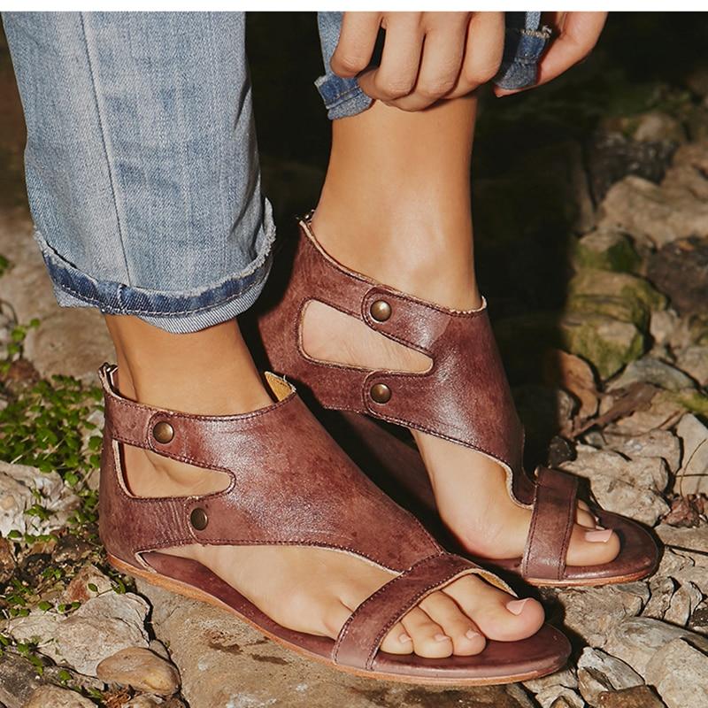 Women Sandals Soft Leather Flat Sandals Shoes Women Plus Size Peep Toe Summer Sandals Casual Gladiator Beach Sandalias Mujer