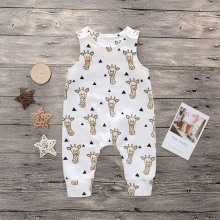 Детский комбинезон для новорожденных мальчиков и девочек, комбинезоны для мальчиков и девочек, хлопковый комбинезон без рукавов с круглым вырезом и рисунком жирафа