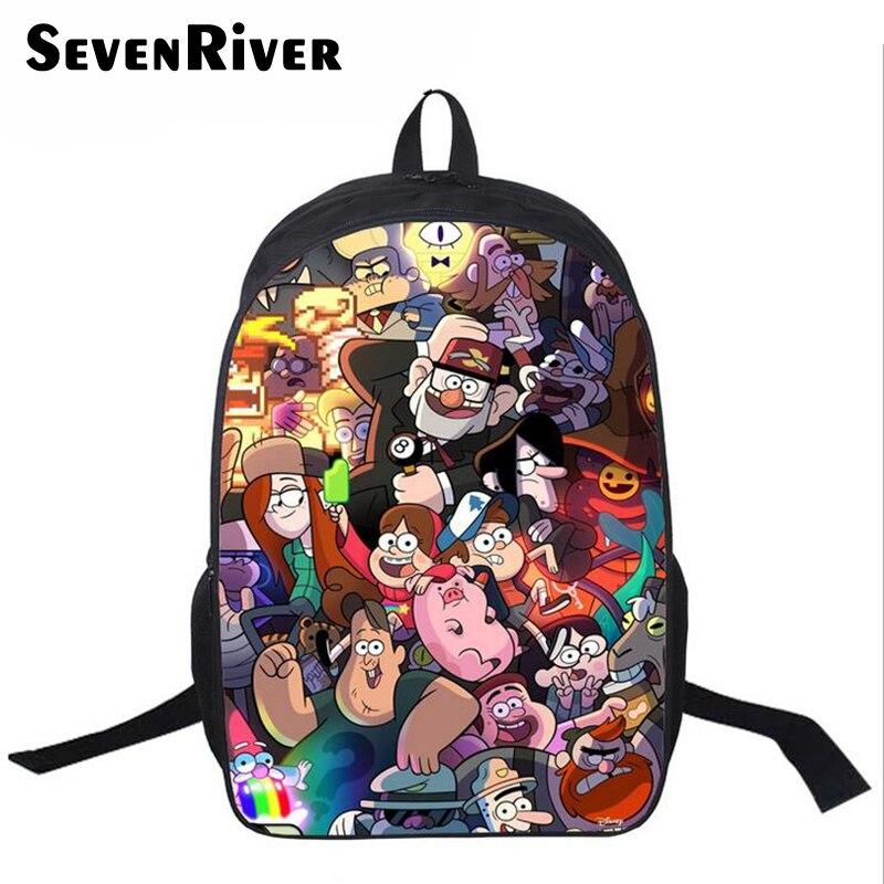 16 дюймовый шпилька Популярные школьная сумка рюкзак с мультяшным принтом для школьников мальчиков Гравити Фолз школьная сумка для девочек