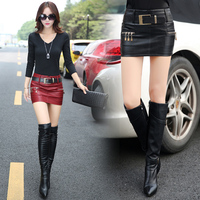 Dropshipping! Micro Mini Skirt Autumn Winter women Sexy show thin Slim Hip PU leather skirt Hip S XL Size Mori (NO belt)