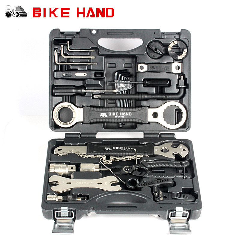 BIKE HAND Bicycle Repair Tool 18 in 1 mountain bike Professional Tool Kit Repair Spoke Wrench Freewheel Pedal Wrench For Shimano for cassett lockrings professional super b mtb bike bicycle freewheel dismantling spanner wrench remover repair tool