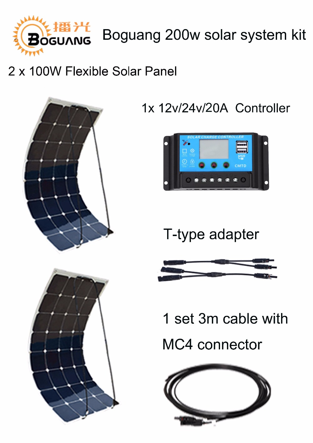 Boguang 200W DIY RV Boat Kits Solar System 2 x100W PV flexible 12V solar panel 20A