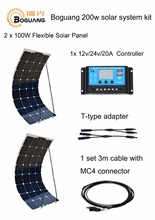 Boguang 200 W DIY RV/Barco Kits Sistema de 2×100 W PV Solar flexible 12 V panel solar 20A regulador solar, kit de cable panneau solaire