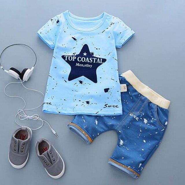 4d736bff8a68 Cartoon Summer Infant Baby Boy Clothes Set Cotton Kids Boys Clothing ...
