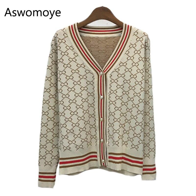 2018 Spring Summer New Fashion V neck Women Sweaters Jacquard Cardigans Full Sleeve Knitted Coat Single Breast Female Loose Coat