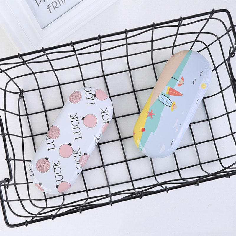 Cartoon creative glasses storage box home office new card portable tinplate small fresh glasses box for a variety of styles