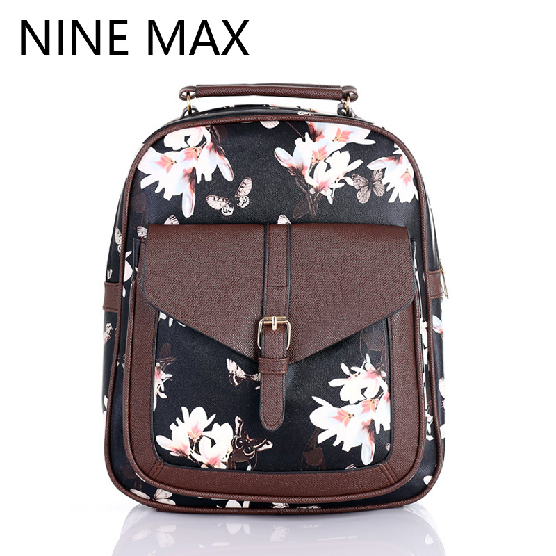 Aliexpress.com : Buy PU Leather Floral Backpack 2016 College Style ...