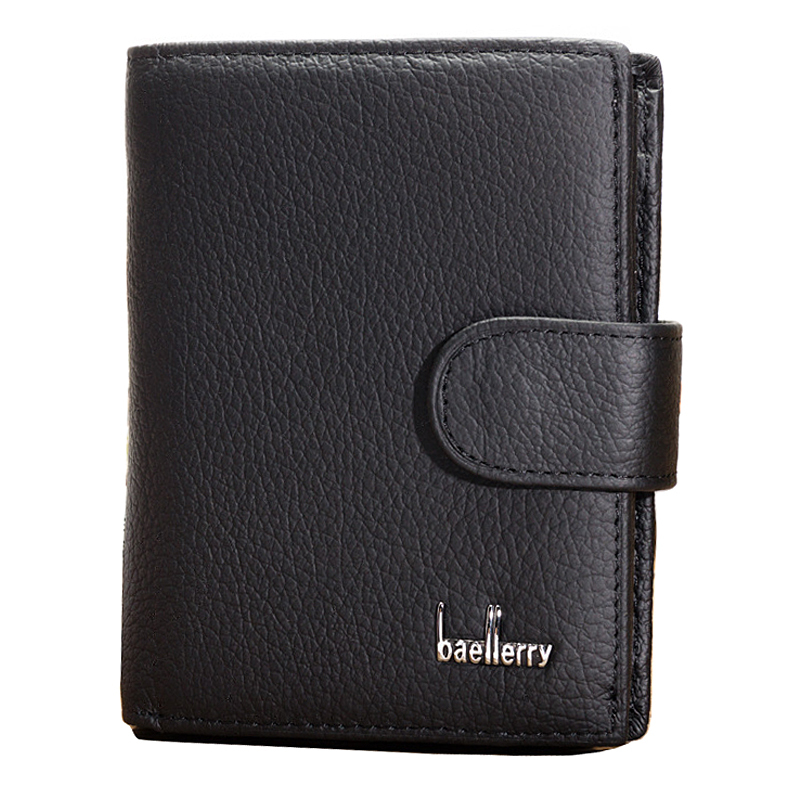 Baellerry Genuine Leather Men's Wallets Litchi Grain Cowhide Black Vertical Style ID Credit Card Holder Coin Change Pocket Purse nahoo lanyard id badge clip name label plastic badge leather card holder vertical credit card bus card holder office supplies