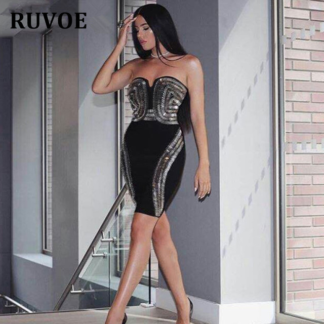 2018 summer elegant Sexy Geometric retro Rhinestone strapless mini black  sleeveless bodycon tight dress bandage party 68dab7bec4dc