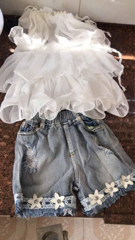 Telotuny Детская Одежда для мальчиков и девочек комплект высокого качества из шифона для девочек Ремень Трепал Бисером Топ + цветок Джинсовые шорты комплект JU 14