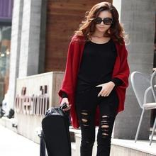 Women Loose Shawl Batwing Sleeves Knit Sweater Oversize Warm Coat Woolen Female Cardigans Red/Black/Gray