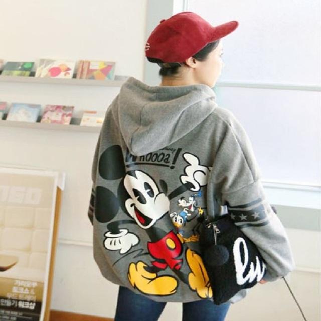 Grande de Maternidad las mujeres Embarazadas Otoño e Invierno Capa Encapuchada del Algodón de Mickey Mouse de la Historieta MÁS