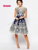 Keewin Women's dresses Vintage Mesh Embroidery Tutu Dresses Women vestidos de fiesta de noche hot temperament deep v