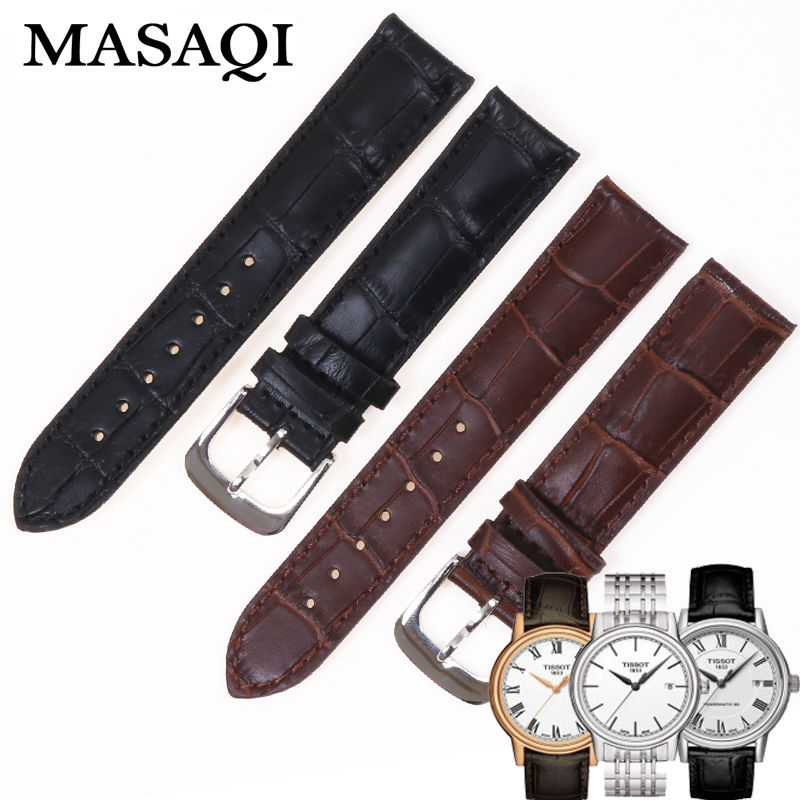 MASAQI Genuine Leather Strap T085410/427A Watch Man's Band Watches For Tissot 1853 T085 19mm Accessories Watchbands genuine leather watchbands for tissot mido lv dior for 1853 t050 waterproof men women buckle strap watch strap fits all brand