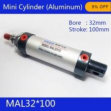Livraison gratuite baril 32mm Alésage 100mm Course MAL32 * 100 En alliage D'aluminium mini cylindre Pneumatique Air Cylindre MAL32-100