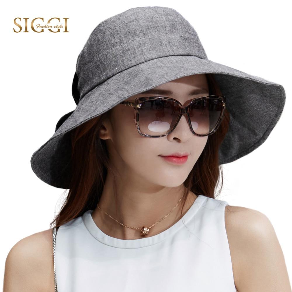 SIGGI Women Summer Sun Hat SPF 50+ UV Cap Packable chapeu feminino praia  bucket wide Brim cotton ramie Sunhat chin cord 89330 4a893a94521