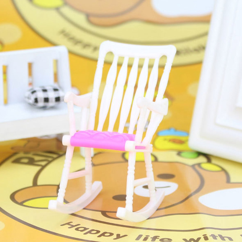 Mini Doll Chair Accessories Rocking Chair DIY Play House Toy Chair Dollhouse Furniture Children Toy Gift- Random Color